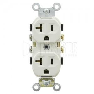 Leviton CR20-T Electrical Outlet, Duplex Receptacle, 20A Commercial Grade  with Self Grounding Clip - Light Almond