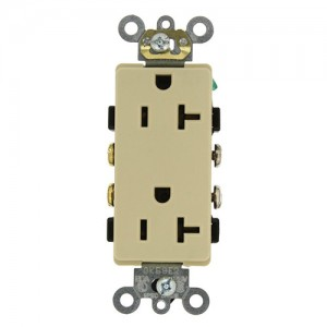 Leviton 16342-I Electrical Outlet, Decora Plus Duplex Receptacle 20A,  Commercial Grade, Self Grounding - Ivory