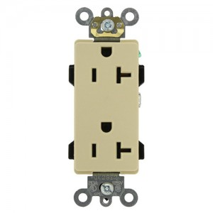 Leviton 16352-I Electrical Outlet, Decora Plus Duplex Receptacle 20A,  Commercial Grade - Ivory