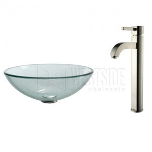 Kraus C-GV-101-12mm-1007SN Bathroom Sink and Faucet Combos
