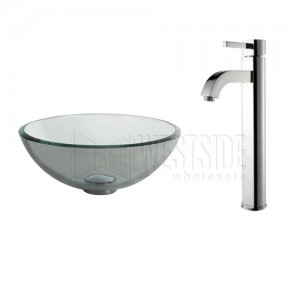Genial Kraus C GV 101 14 12mm 1007CH Clear 14 Inch Glass Vessel Sink And Ramus  Faucet   Chrome