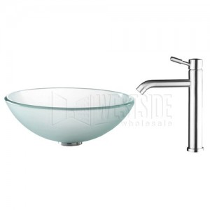 Kraus C-GV-101FR-12mm-2180 Bathroom Sink and Faucet Combos