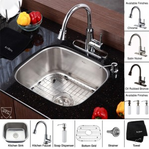 Kraus KBU11-KPF2220-KSD30CH Kitchen Sink Sets