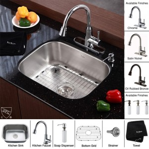 Kraus KBU12-KPF2220-KSD30CH Kitchen Sink Sets