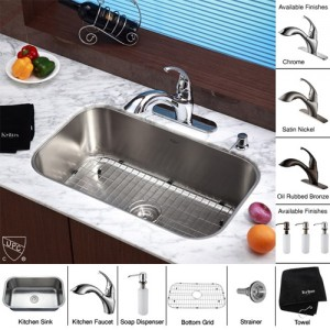 Kraus KBU14-KPF2210-KSD30SN Kitchen Sink Sets