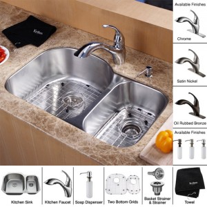 Kraus KBU23-KPF2210-KSD30CH Kitchen Sink Sets
