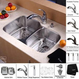 Kraus KBU24-KPF2210-KSD30CH Kitchen Sink Sets