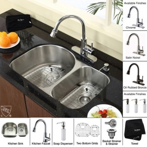 Kraus KBU21-KPF2220-KSD30CH 30 inch Undermount Double Bowl Stainless Steel  Kitchen Sink with Chrome Kitchen Faucet and Soap Dispenser (Open Box Item)