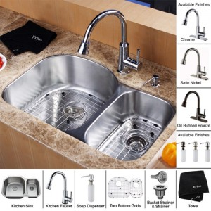 Kraus KBU23-KPF2220-KSD30ORB Kitchen Sink Sets