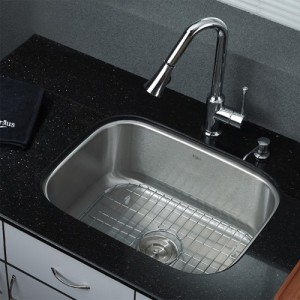 Kraus KBU12-KPF1650-KSD30CH Kitchen Sink Sets