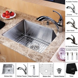 Kraus KHU121-23-KPF2210-KSD30SN Kitchen Sink Sets