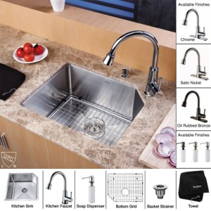 Kraus KHU121-23-KPF2220-KSD30CH Kitchen Sink Sets