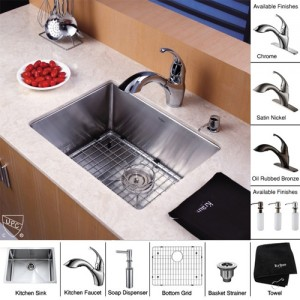 Kraus KHU101-23-KPF2210-KSD30CH Kitchen Sink Sets