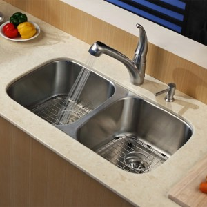 Kraus KBU22-KPF2110-SD20 Kitchen Sink Sets