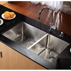 Kraus KHU102-33-KPF1621-KSD30CH Kitchen Sink Sets