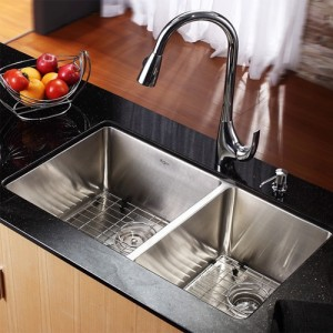 Kraus KHU103-33-KPF1621-KSD30CH Kitchen Sink Sets