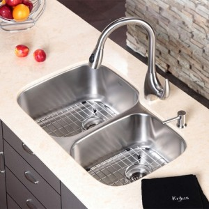 Kraus KBU24-KPF2170-SD20 32 inch Undermount Double Bowl Stainless Steel  Kitchen Sink with Kitchen Faucet and Soap Dispenser