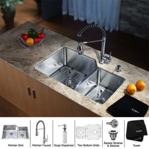 Kraus KHU123-32-KPF1612-KSD30CH Kitchen Sink Sets