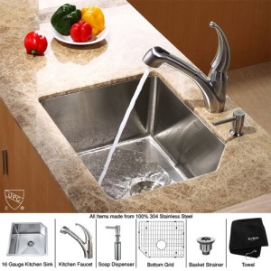 Kraus KHU121-23-KPF2110-SD20 Kitchen Sink Sets