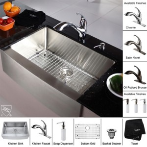 Kraus KHF200-30-KPF2210-KSD30CH Kitchen Sink Sets
