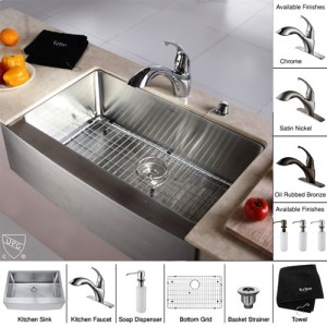 Kraus KHF200-33-KPF2210-KSD30CH Kitchen Sink Sets