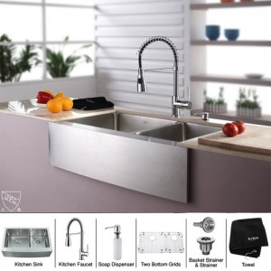 Kraus KHF203-33-KPF1612-KSD30CH Kitchen Sink Sets