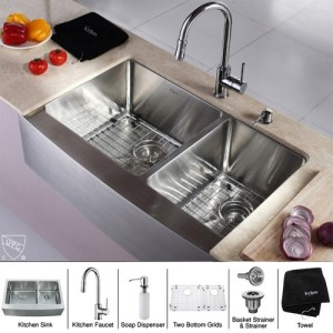 Kraus KHF203-33-KPF1622-KSD30CH Kitchen Sink Sets