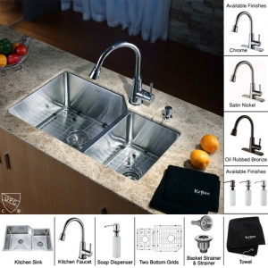 Kraus KHU123-32-KPF2220-KSD30SN Kitchen Sink Sets