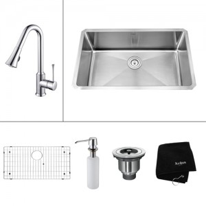 Kraus KHU100-30-KPF1650-KSD30CH Kitchen Sink Sets