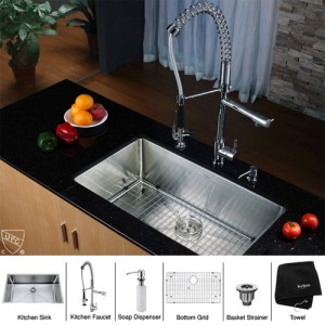 Kraus KHU100-32-KPF1602-KSD30CH Kitchen Sink Sets