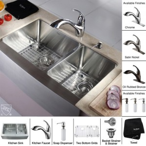 Kraus KHF203-33-KPF2210-KSD30ORB Kitchen Sink Sets
