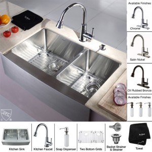 Kraus KHF203-33-KPF2220-KSD30SN Kitchen Sink Sets