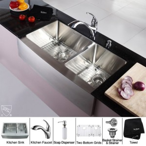 Kraus KHF203-36-KPF2210-KSD30CH Kitchen Sink Sets