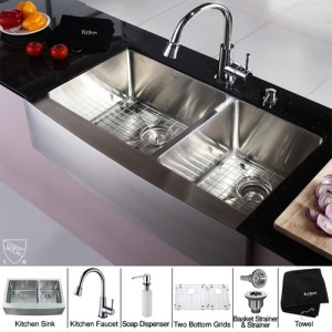 Kraus KHF203-36-KPF2220-KSD30CH Kitchen Sink Sets