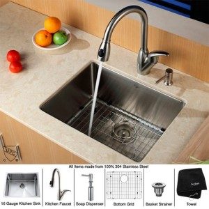Kraus KHU10123KPF2120SD20 23 Inch Undermount Single Bowl Stainless Steel Kitchen Sink With Faucet And Soap Dispenser