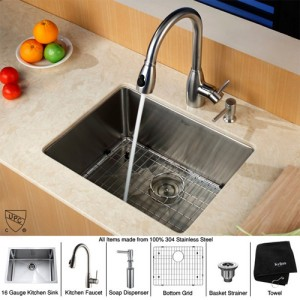 Kraus KHU101-23-KPF2130-SD20 Kitchen Sink Sets