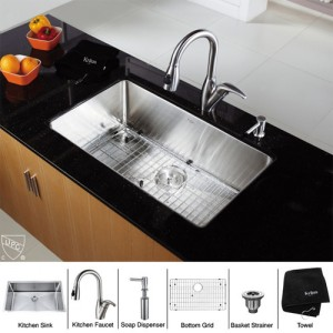 Kraus KHU100-30-KPF2121-SD20 Kitchen Sink Sets