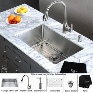 Kraus KHU100-30-KPF2170-SD20 Kitchen Sink Sets