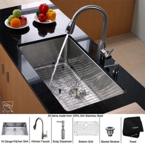 Kraus KHU100-32-KPF2130-SD20 Kitchen Sink Sets