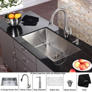 Kraus KHU100-32-KPF2170-SD20 Kitchen Sink Sets
