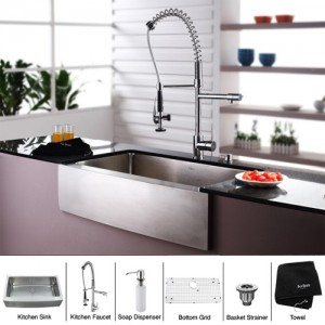 Kraus KHF200-36-KPF1602-KSD30CH 36 inch Farmhouse Single Bowl Stainless  Steel Kitchen Sink with Chrome Kitchen Faucet and Soap Dispenser (Open Box  ...