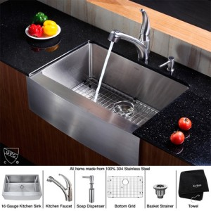 Kraus KHF200-30-KPF2110-SD20 Kitchen Sink Sets