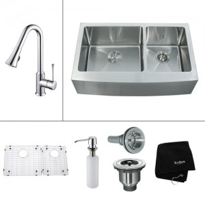 Kraus KHF203-33-KPF1650-KSD30CH Kitchen Sink Sets