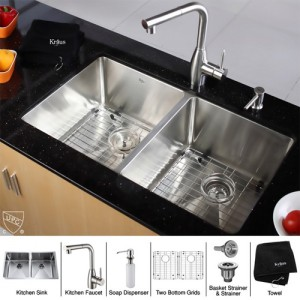 Kraus KHU102-33-KPF2140-SD20 Kitchen Sink Sets