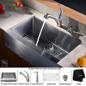 Kraus KHF200-33-KPF2110-SD20 Kitchen Sink Sets