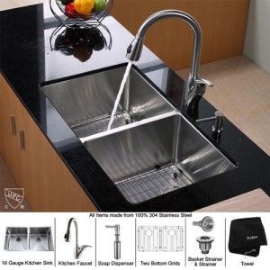 Kraus KHU102-33-KPF2120-SD20 Kitchen Sink Sets