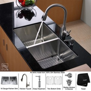Kraus KHU102-33-KPF2130-SD20 Kitchen Sink Sets