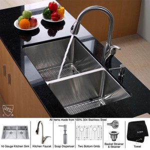 Kraus KHU103-33-KPF2120-SD20 Kitchen Sink Sets