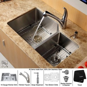 Kraus KHU123-32-KPF2110-SD20 Kitchen Sink Sets