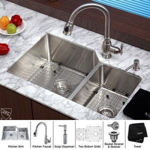 Kraus KHU123-32-KPF2150-SD20 Kitchen Sink Sets